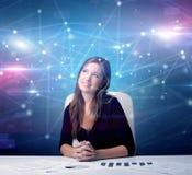 Manager voor het bureau met verbindingsconcept royalty-vrije stock afbeelding