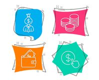 Manager, Wallet and Tips icons. Buy currency sign. Work profit, Usd cash, Cash coins. Money exchange. Set of Manager, Wallet and Tips icons. Buy currency sign Stock Images