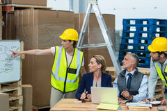 Manager and warehouse workers discussing plan on whiteboard Stock Images