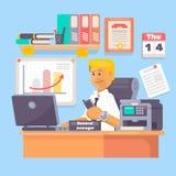 Manager of werknemer die laptop in een illustratie van de bureauwerkplaats werken Stock Fotografie