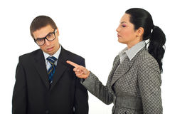 Manager woman accuse dump employee stock photography