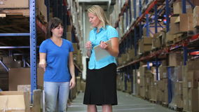 Manager-And Worker Checking-Waren im Lager stock footage