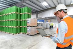 Manager works on-site in the warehouse of an industrial company Royalty Free Stock Photos