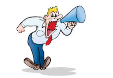 Manager  yell very  loud. Illustration of a manager with megaphone yell very  loud on isolated white background Royalty Free Stock Images