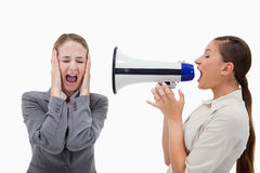 Manager yelling at her colleague Royalty Free Stock Photos