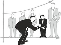 Managerial coaching. The manager is instructing the employee to increase its efficiency, staff lined up in a coordinate system create a bar chart – vector Royalty Free Stock Images