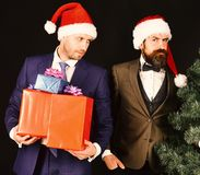 Managers with beards get ready for Christmas. Businessmen with curious faces hold Christmas tree and presents. New Year celebration at work concept. Men in royalty free stock photos