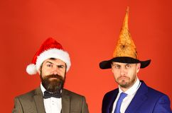 Managers with beards pose together. Business and celebration concept. royalty free stock images