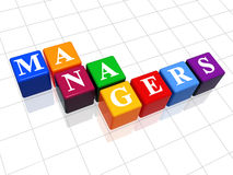 Managers in colour 2. 3d colour boxes with text - managers, word Stock Images