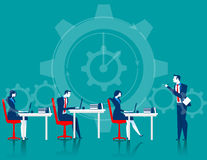 Managers control business people. Concept business illustration. Vector flat Stock Image
