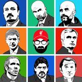 Managers Football Clubs. Vector of Legends an Football Managers stock illustration