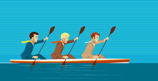Managers and kayak. Team of managers is going to reach success Royalty Free Stock Photo