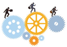 Managers moving over cogs. Conceptual illustration of business managers running or walking over set of cogs, isolated on white background Royalty Free Stock Image