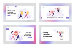 Free Managers Office People Lifestyle, Website Landing Page Set, Business People Shoot Target, Carry Money Stacks Stock Photography - 164496432