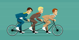 Managers on the tandem bicycle ride. Team of managers are going to reach success on the tandem bicycle ride (actually tricycle stock illustration