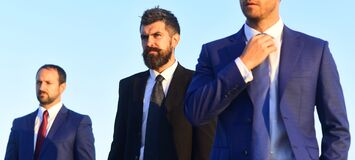 Free Managers Wear Smart Suits, Ties On Blue Sky Background Royalty Free Stock Image - 198815036