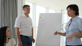 Managers beside whiteboard discussing business development into diagram form. In office stock footage
