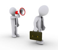 Managerzündungangestellter mit Megaphon Lizenzfreies Stockfoto