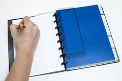 Managing calendar. Woman's hand writting on agenda Royalty Free Stock Photography