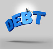 Managing Debt. Financial and business concept with a businessman through strong leadership skills riding and guiding the three dimensional text using a harness Stock Photo