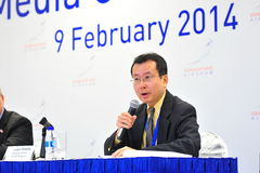 Managing Director of Jetro Singapore speaking at media conference of Singapore Airshow Stock Photography