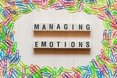 Managing emotions words concept stock images