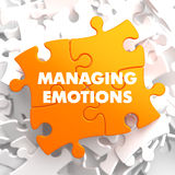 Managing Emotions on Yellow Puzzle. Managing Emotions - Yellow Puzzle On White Background Royalty Free Stock Photos