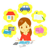 Managing family finances, expenditure. File Royalty Free Stock Images
