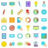 Managing icons set, cartoon style. Managing icons set. Cartoon set of 36 managing vector icons for web isolated on white background Stock Photos