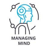 Managing mind thin line icon, sign, symbol, illustation, linear concept, vector. Managing mind thin line icon, sign, symbol, illustation, linear concept vector Stock Image