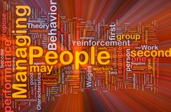Managing people background concept glowing. Background concept wordcloud illustration of business managing people glowing light Stock Photo