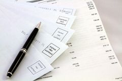 Managing the personal finances and monthly bills royalty free stock photos