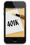 Managing your 401k Online. Cell Phone with photo of pen and card with text 401k isolated on a white background Stock Photography