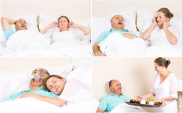 Managment of sleeping apnea. Sleeping apnea, snoring, stress. Peaceful nights, happy morning with CPAP machine, devise, of middle aged couple. Healthcare stock photo