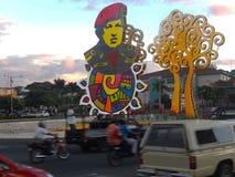 Managua Nicaragua - elektrifierad hedersgåva för Hugo Chavez arkivfoto