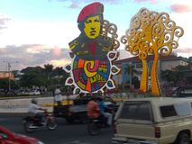 Managua, Nicaragua - elektrifizierter Tribut für Hugo Chavez stockfoto