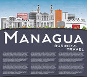 Managua Skyline with Gray Buildings, Blue Sky and Copy Space. stock illustration