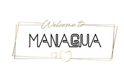 Managua  Welcome to text Neon lettering typography. Word for logotype, badge, icon, postcard, logo, banner Vector Illustration royalty free illustration