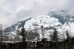 Manali喜马偕尔邦镇山和树在印度 免版税库存图片