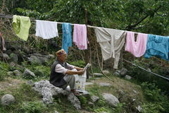 Manali, India, Asia, viaggio, vita, tela, lavanderia, lettore, natura, colore, svago, uomo Immagine Stock Libera da Diritti