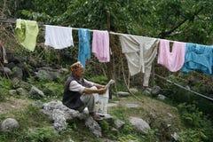 Manali, Indien, Asien, Reise, Leben, Leinen, Wäscherei, Leser, Natur, Farbe, Freizeit, Mann Lizenzfreies Stockbild