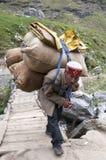 MANALI, LA INDIA - 9 DE SEPTIEMBRE DE 2014: Bolsos que llevan del viejo hombre con las lanas de las ovejas que cruzan el puente e Fotos de archivo libres de regalías