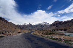 Manali-Leh Highway. With snow capped mountains in Ladakh region of Jammu and Kasmir state of India. It spans over a length of 479 km (298 mi) passing through stock photo