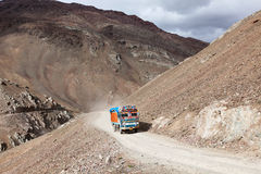 Manali-Leh Road in Indian Himalayas with lorry Stock Photo