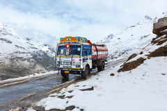 Manali-Leh road in Indian Himalayas with lorry Stock Image