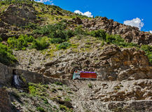 Manali-Leh road in Indian Himalayas with lorry. Himachal Pradesh Royalty Free Stock Images