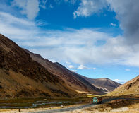 Manali-Leh Road in Indian Himalayas with lorry Royalty Free Stock Photos