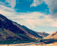 Manali-Leh Road in Indian Himalayas with lorry Stock Photos