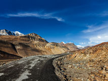 Manali-Leh road. To Ladakh in Indian Himalayas near Baralacha-La pass. Himachal Pradesh, India Royalty Free Stock Images