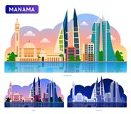 manama Красивый горизонтальный панорамный взгляд иллюстрация штока